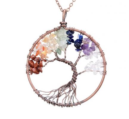 7 Chakra Tree Of Life Gem Necklace