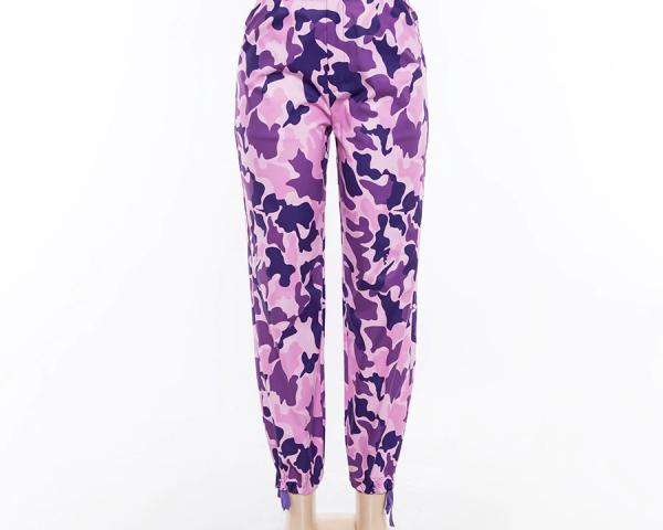 Purple High Waist Camouflage Cargo Pants  3