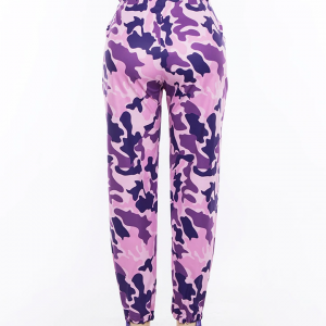 Purple High Waist Camouflage Cargo Pants  4